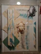 "Hand Signed Original Modern 1988 Mixed Media Art in Shadow Box by ""Waleutt"""
