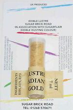 Sugarflair Radiante Oro Lustro Dust Polvere 7ml Commestibile Luccicante Cibo Colore Tinta