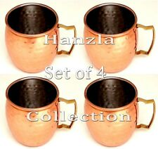 4 Pcs Moscow Mule Mug Hammered Cup Stainless Steel Drinking Copper Plated Mugs