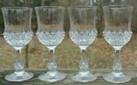 Set of 4 Cristal D'arques Wine Glasses/ Crystal Glass Ancenis Pattern