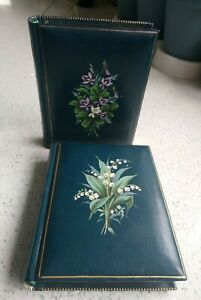 Two Small Hand Painted Vintage Floral Victorian Style Empty CDV Photo Albums