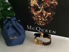 Alexander McQueen Gold Chain and Black Leather Skull Bracelet RRP £345.00
