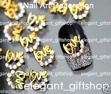 #EA124 10pcs Alloy Jewelry Nail Art Decoration Golden Love Glitter Rhinestones