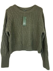 Womens Wild Fable Crewneck Cropped Cable Sweater Heather Green