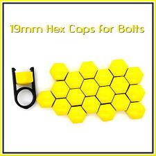 19mm HEX TAPPI PER BULLONI DADI AUTO copre RUOTE IN LEGA TUNING GIALLO BRILLANTE 20 PC