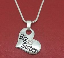 Big Sister Necklace Heart Pendant sis Charm and Chain Silver Plated New sissy