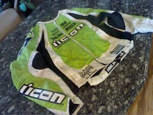 Icon Women's size L Motorcycle Jacket Green/White and Black