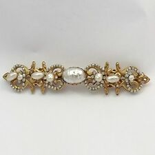 Miriam Haskell Faux Baroque Pearls in Ornate Metal Setting Large Brooch Pin