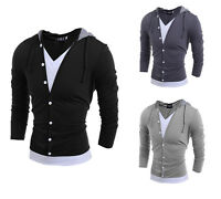 Mens Long Sleeve Hooded Clothes Casual T-Shirt Tops Tee Shirts Blouse Hoodies