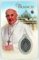 Catholic Church Leader Pope Francis of Assisi Holy Prayer Card & Medal, 3 1/4 In