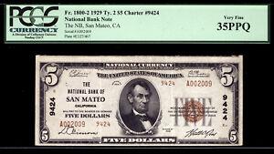$5 1929 The National Bank of San Mateo, California CH 9424 PCGS 35 PPQ
