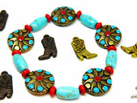 Turquoise and Red Enameled Metal Bead 7.5 Inch Stretch Bracelet Howlite Accents