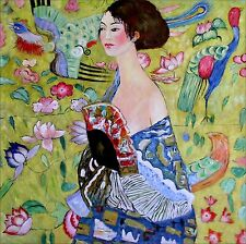 Quality Hand Painted Oil Painting, Gustav Klimt Lady with a Fan Repro II 36x36in