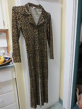 Vintage ROBE by GEORGETTE Sexy Animal print small Long sleeves Blacks and browns