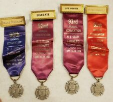 4 Vintage Firemen Ribbon Award Pins 1967-1970 Atlantic City New Jersey