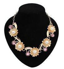 Lady Fashion Charm Pink Crystal Faux Pearl Inlay Leaf Flower Pendants Necklace