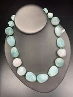 Vintage Sea Glass  Green Lucite Large Beaded Single Beaded Statement Necklace