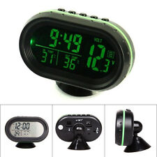 LCD Digital Car Voltmeter Thermometer Voltage Temp Monitor Alarm Clock DC 12-24V