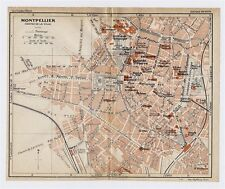 1926 ORIGINAL VINTAGE CITY MAP OF MONTPELLIER / LANGUEDOC-ROUSSILLON / FRANCE