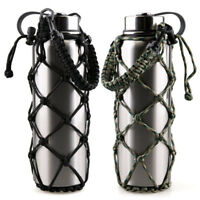2Pcs Paracord Water Bottle Holder Carrier Net Sleeve for Hydro Flask Wide Mouth