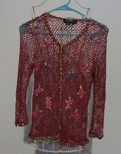 Saint Tropez by Carole Little Burgundy Mesh 3/4 Sleeve Floral Cardigan  - Size S