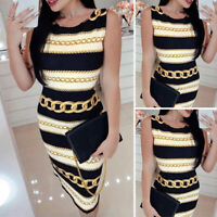 Women's Sexy Printed Dress Sleeveless Slim Bodycon Pencil Formal Holiday Party