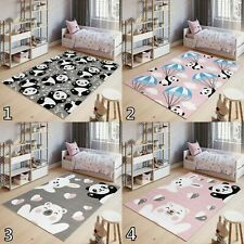 Grey & Pink Kid's Bedroom Rugs Soft Pile Easy to Clean S-XXL Size Bear Pattern