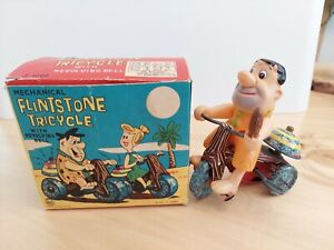 MARX FRED FLINTSTONE Tricycle w/ BOX Wind Up Toy Works Hanna-Barbera Production
