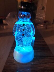 "Hallmark Snowman ""Merry Magic"" Snow Globe - Rare 2009 - Lights Up & Snow Swirls!"