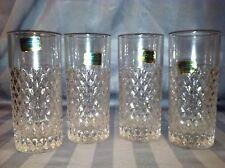 4 Vintage German Lausitzer 24% Lead Crystal Diamond Glasses Tumblers w Stickers