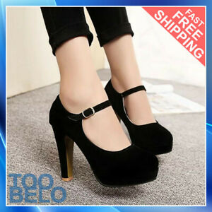 Womens Ankle Strap Mary Jane Round Toe High Heel Platform Pumps Shoes Party Work
