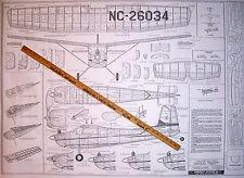 "Vintage CESSNA 180 36"" BerkeleyUC/FF Or RC Model Airplane PLAN + Parts Patterns"