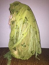 Green Long Scarf Hijab Wrap Sheer pretty and fashionable W/tassels Last Ones