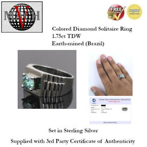 1.75ct (TDW) Fancy Blue Diamond Solitaire Ring - Size 13 - Sterling Silver + COA