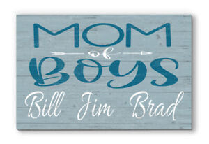 Personalized Name Sign Mom of Boys Rustic Wooden Home Décor for Mothers Day Gift