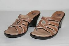 Sofft Womens Sz 9 M Tan Brown Leather High Heels Strappy Wedges Sandals Shoes