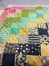 Handmade Patchwork Throw /quilt In Bright Moda Fabric  Reduced
