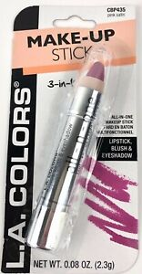 L.A. COLORS 3 in1 Makeup Stick Lipstick Blush & Eyeshadow  Pink Satin  SEALED