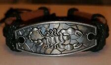 Black Leather Bracelet. With Scorpion.