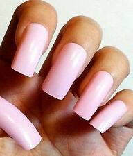 BUY2GET1FREE! BABY PINK 20pc False Art Nails Glue On Long Length Full Cover