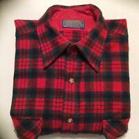 Vintage Pendleton red & green shirt  Size medium Wool plaid Pockets