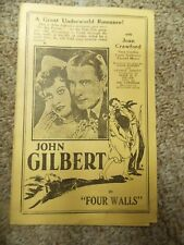 FOUR WALLS(1928)JOHN GILBERT & JOAN CRAWFORD LOT OF THREE ORIGINAL HERALDS