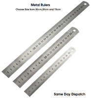 """Double Side Thick Metal Ruler Stainless Steel- 30cm-20cm-15cm 12"""" 8"""" 6"""" Inches"""