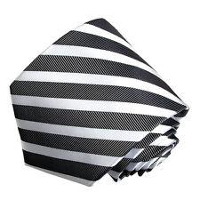 Men's black and white  striped  woven  tie