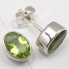 925 Solid Silver Genuine PERIDOT Cute Studs Earrings .9CM Lightweight Jewellery