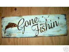 Primitive Sign Gone Fishin' Fishing Sign Cabin Lodge Fathers Day Sign