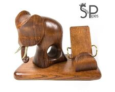 Exclusive Wood carved iPhone 5 4S 4 3GS *Elephant* table stand for mobile phone