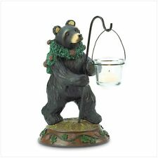 "Christmas Bear Candleholder, Polyresin with Glass Cup, 7 1/2"" X 5 1/2"" X 9 1/2"""