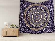 Indian Blue Gold Queen Ombre Mandala Wall Hanging Tapestry Bedspread Wall Decor