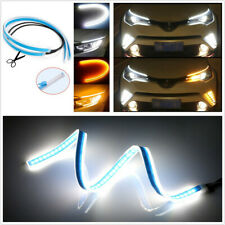 Pair 60cm Soft Flowing LED White+Yellow Car Headlight Turn Signal Lights DRL 12V